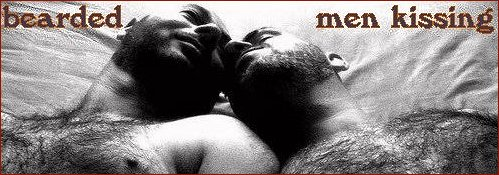 bearded men kissing