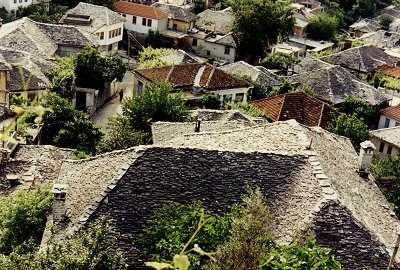The rooves of Gjirokastra, birthplace of Kadare - and Hoxha.