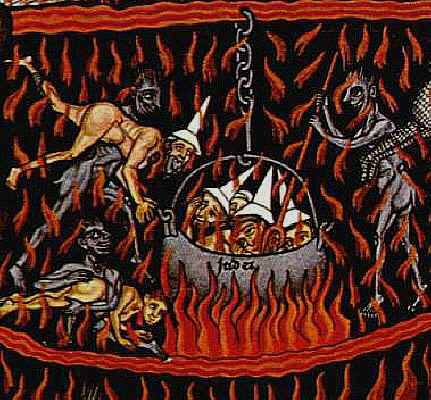 The punishment of Jews in Hell.