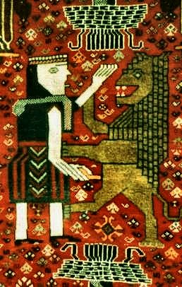 Detail of a Qashqai rug from Iran